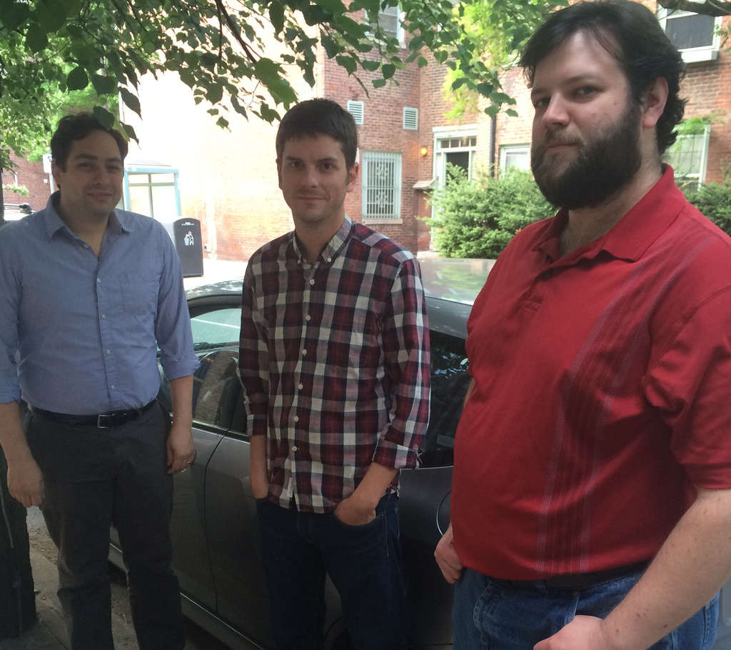 Brian Carroll (center) carpools with Anthony Madonna (left) and Eric Wetzel in Carroll´s Honda Fit.