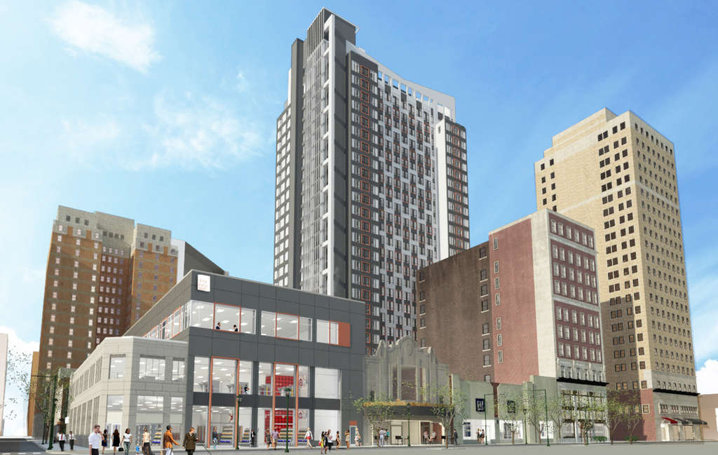 A rendering shows Eimer Architecture´s design for the new tower on the site of the old Boyd Theatre. A design review by the Historical Commission is set for next week.