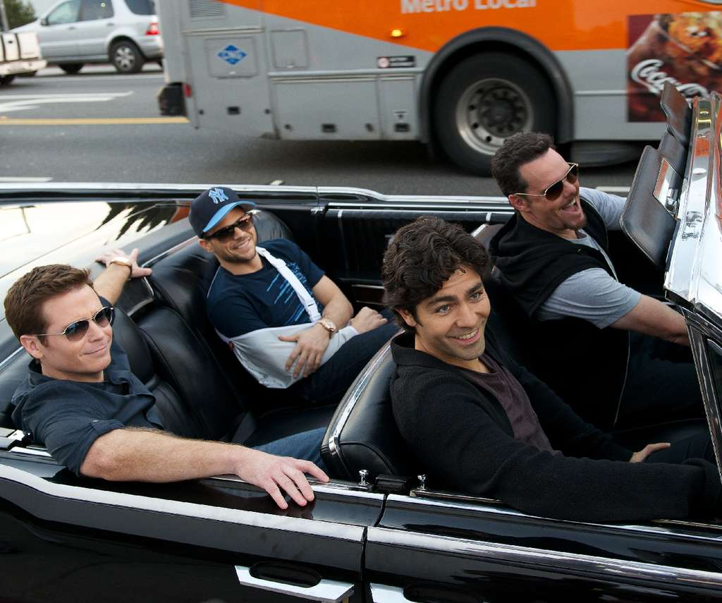 "The bros are back. (From left) Kevin Connolly as Eric ""E"" Murphy, Jerry Ferrara as Turtle, Adrian Grenier as Vincent Chase, and Kevin Dillon as Johnny ""Drama"" Chase in ""Entourage."""