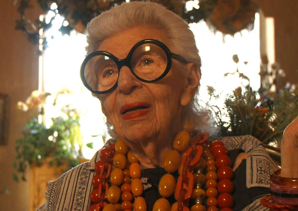 "Iris Apfel, the nonagenarian style-setter and subject of Albert Maysles´ winning documentary ""Iris."""