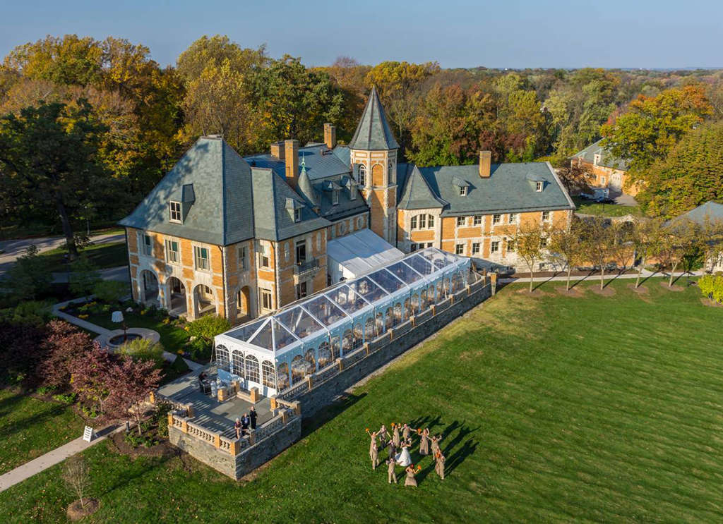A drone camera captured this aerial view of the wedding of Tiffany DiFelice and Michael Papaneri at Cairnwood Estate in Bryn Athyn. Many couples are asking for such images of their nuptials, but occasionally there are complications - such as a drone that crashes into a participant.