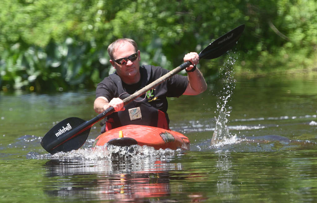 "John Anderson kayaks . ""They used to say the Rancocas had therapeutic properties,"" he said. ""I kind of agree with that."" CURT HUDSON / For The Inquirer"