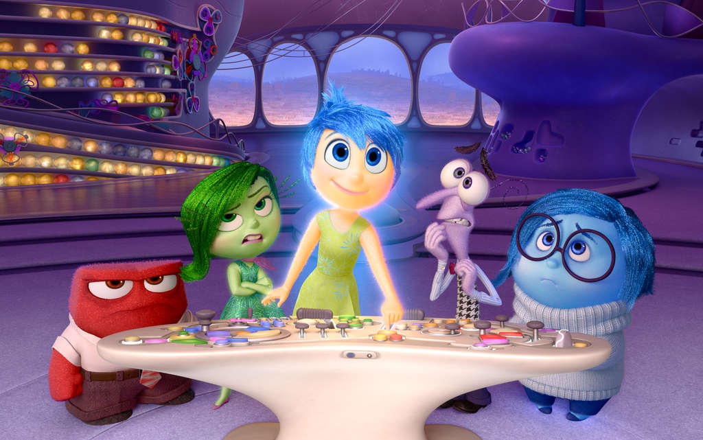 "Feelings, all right: (from left) Anger, Disgust, Joy, Fear, and Sadness are the HQ staff of a girl´s mind in Pixar´s delightful ""Inside Out."""