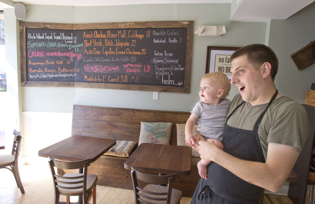 Helm co-owner and chef Mike Griffiths with his son, James, at the restaurant. Griffiths started the 34-seater on North Fifth Street with co-owner and chef Kevin D´Egidio after they honed their skills in kitchens such as Fork, Stateside, and Tangerine. (Charles Fox/Staff Photographer)