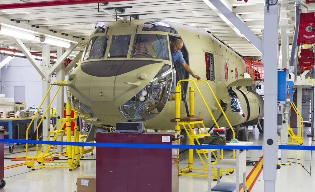 A Chinook helicopter on the assembly line at Boeing´s plant in Ridley Park. The manufacturer will lend money to its customers, a spokesman says, but will have less money to spend on product development.