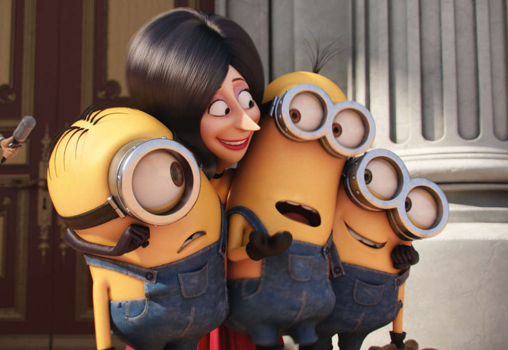 Sandra Bullock voices Scarlet Overkill, seen with minions Stuart, Kevin, and Bob.