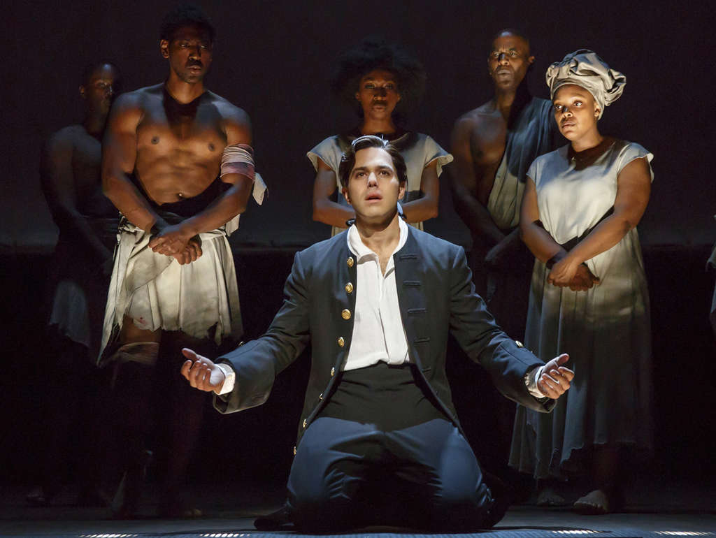 "Josh Young (center) in the Nederlander Theatre´s production of ""Amazing Grace,"" the new Broadway musical written by Christopher Smith, an ex-police officer from Bucks County. (Photo: Joan Marcus)"