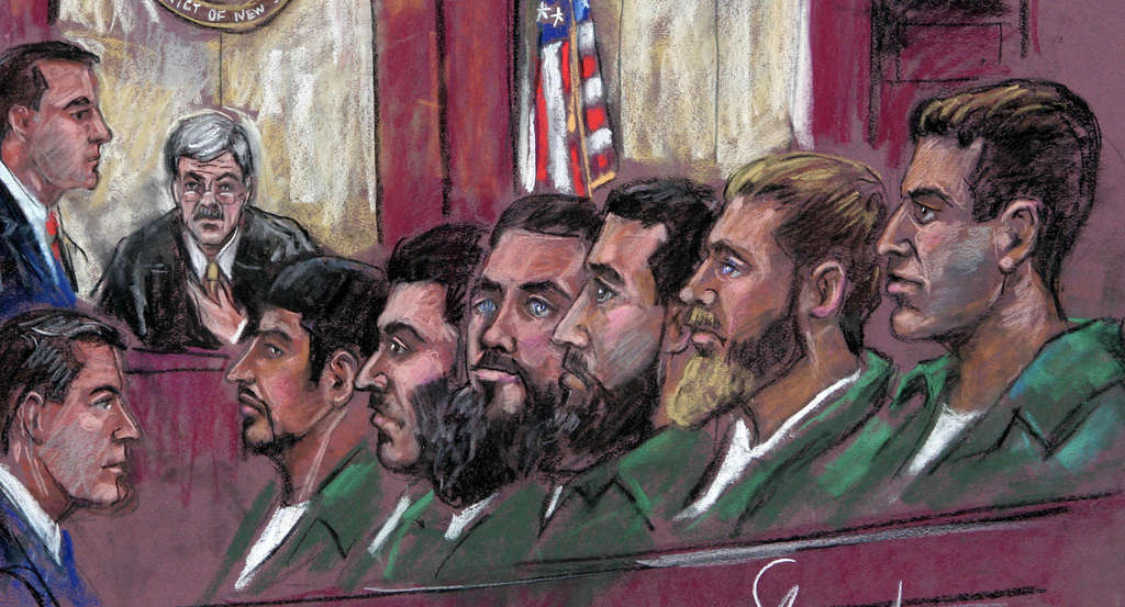 An artist´s sketch of the accused during a pretrial hearing in Camden in July 2007, including Eljvir Duka (third from left), Dritan Duka (fourth from left), and Shain Duka (second from right). Relatives say the brothers were entrapped by government informants and later coerced by defense attorneys into not testifying.
