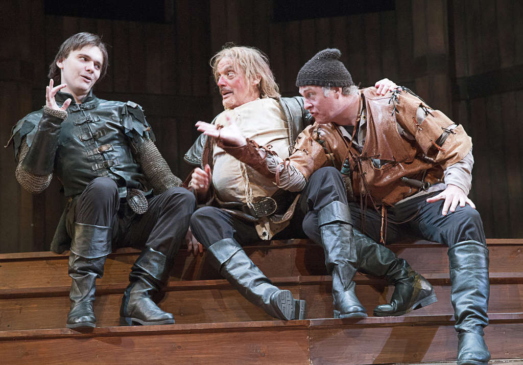 "Words of war: (from left) Jacob Dresch, Carl N. Wallnau, and William Zielinski in the Pennsylvania Shakespeare Festival´s ""Henry V."" LEE A. BUTZ"