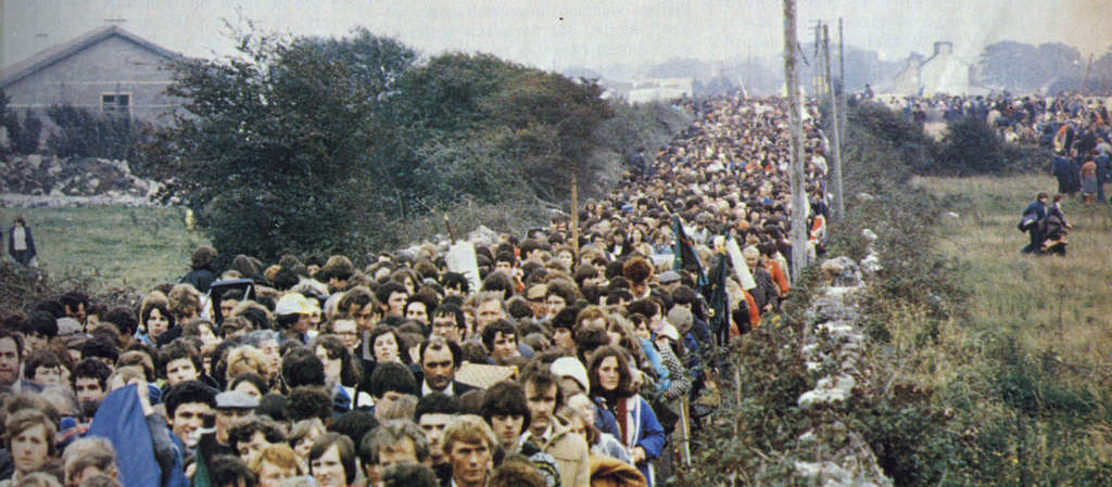 A photo from the October 1979 issue of Magill magazine shows a throng in Ireland lined up to see the pope. Despite the terrorism threats that year, there were no metal detectors or security perimeter.