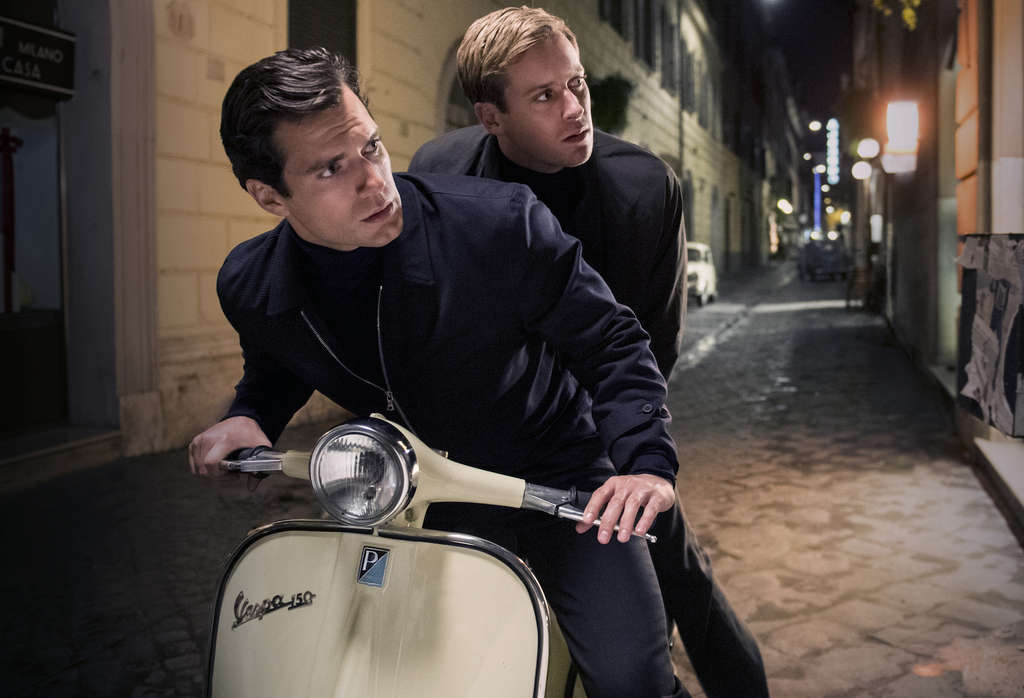 "Henry Cavill (left) and Armie Hammer in the spy film ""The Man from U.N.C.L.E.,"" based on the ´60s TV show, and opening Aug. 14."