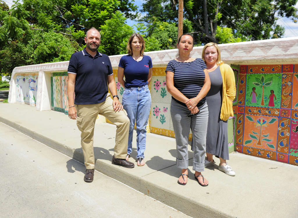 Tim Zatzariny Jr. with (from left) Maureen Peters, Doris Nogueira-Rogers, and Jacqualynn Knight. Members of the Fall Arts Festival Coalition say new regulations are preventing them from bringing more events to the city.