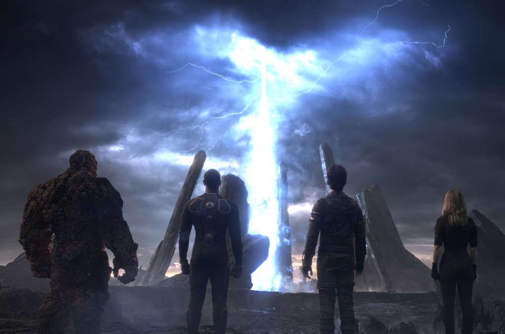 """Fantastic Four,"" a reboot of the Marvel franchise, stars (from left) Jamie Bell, Michael B. Jordan, Miles Teller, and Kate Mara."
