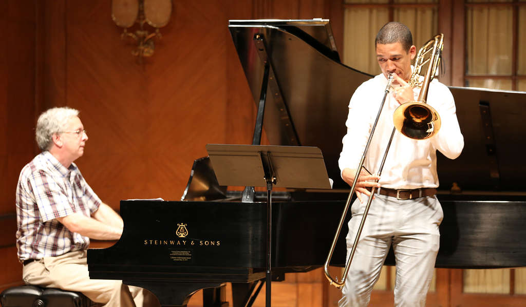 At the Summerfest recital are pianist Charles Abramovic and trombonist Weston Sprott, a recent Curtis alum.