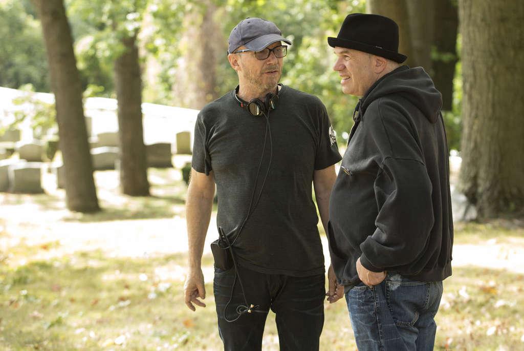 """Show Me a Hero"" creator David Simon (right) confers with the miniseries´ director, Paul Haggis."
