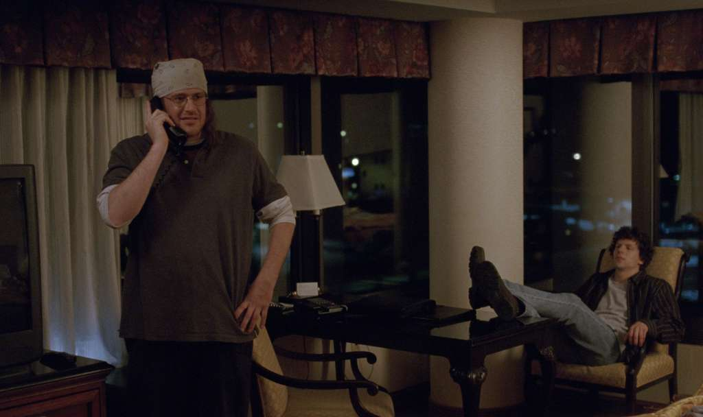 Jason Segel (left) in a breakout performance as acclaimed novelist David Foster Wallace, with Jesse Eisenberg as journalist David Lipsky.