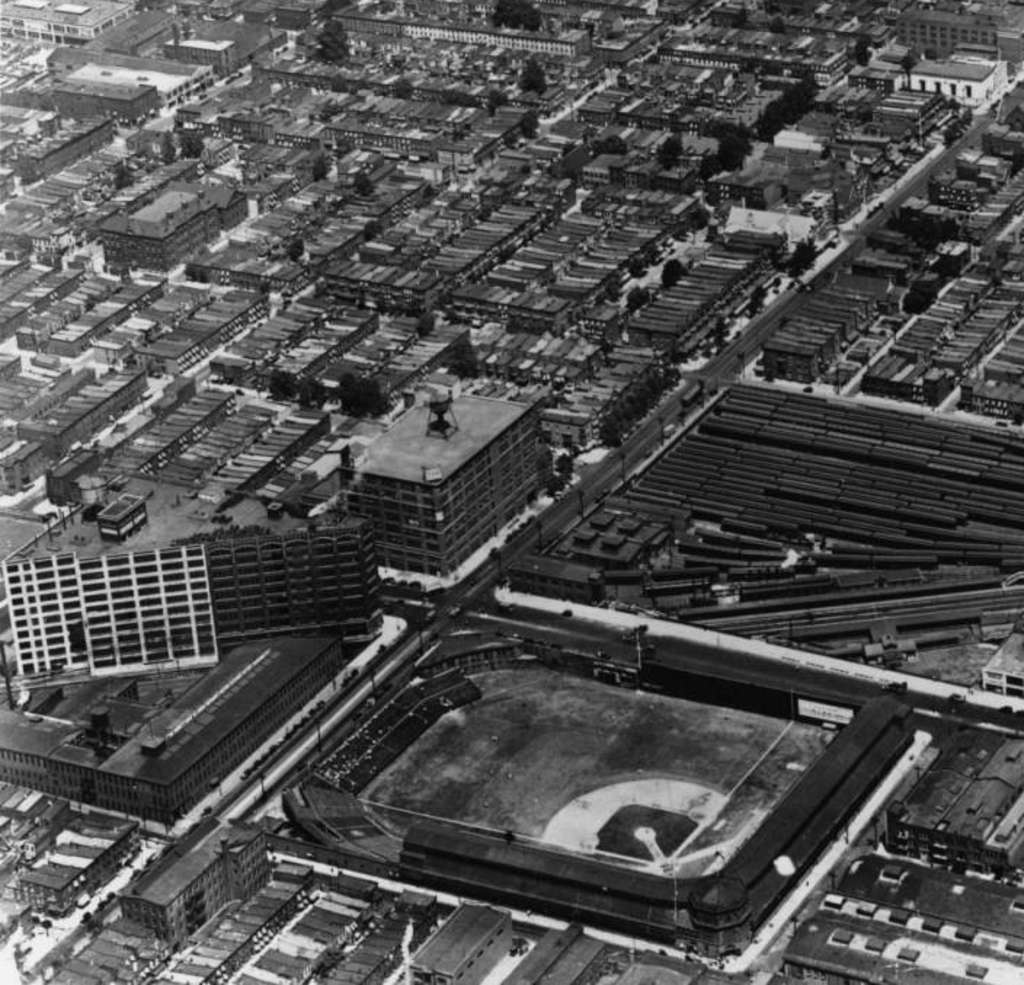 The triangular Ford Building at Broad and Lehigh provided an architectural contrast with Baker Bowl, an early home of the Phillies.