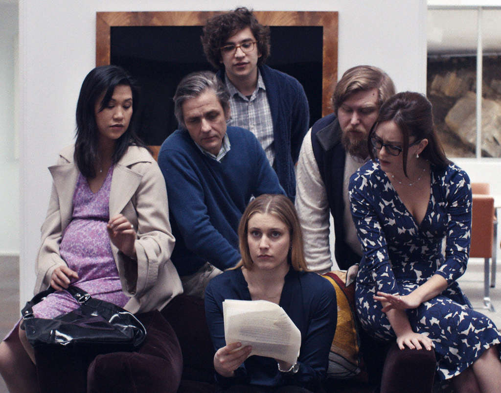 "In the film, Gerwig (center) is Brooke - with (from left) Cindy Cheung, Dean Wareham, Matthew Shear, Michael Chernus, Heather Lind - whose new stepsister (Kirke) has written a short story titled ""Mistress America."""