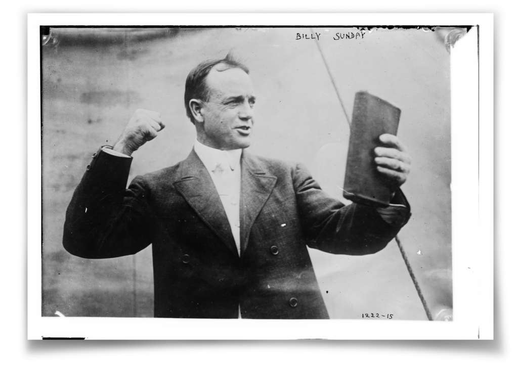 Billy Sunday, who played for three major-league teams between 1883 and 1890, found his calling as an evangelist after his retirement from baseball. He last played for the Phillies.