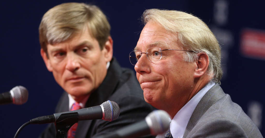 Phillies co-owner John Middleton (far left)with Andy MacPhail, who will be the next team president.