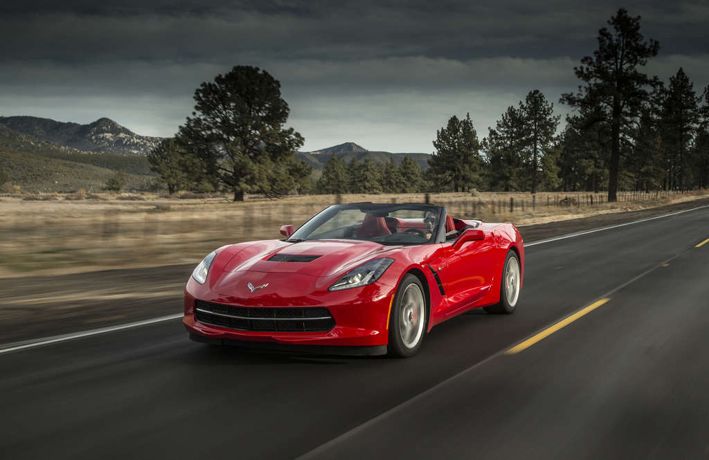 The 2015 Chevrolet Corvette Stingray Convertible offers unbridled top-down fun for two people in a hurry.