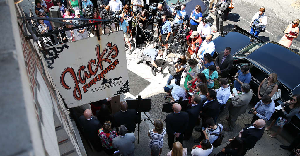 DAVID MAIALETTI / STAFF PHOTOGRAPHER Mayor Nutter sought to soften the security-speak during a news conference this week by mentioning some businesses that will be open during the pope´s September visit, including Jack´s Firehouse on Fairmount Avenue.