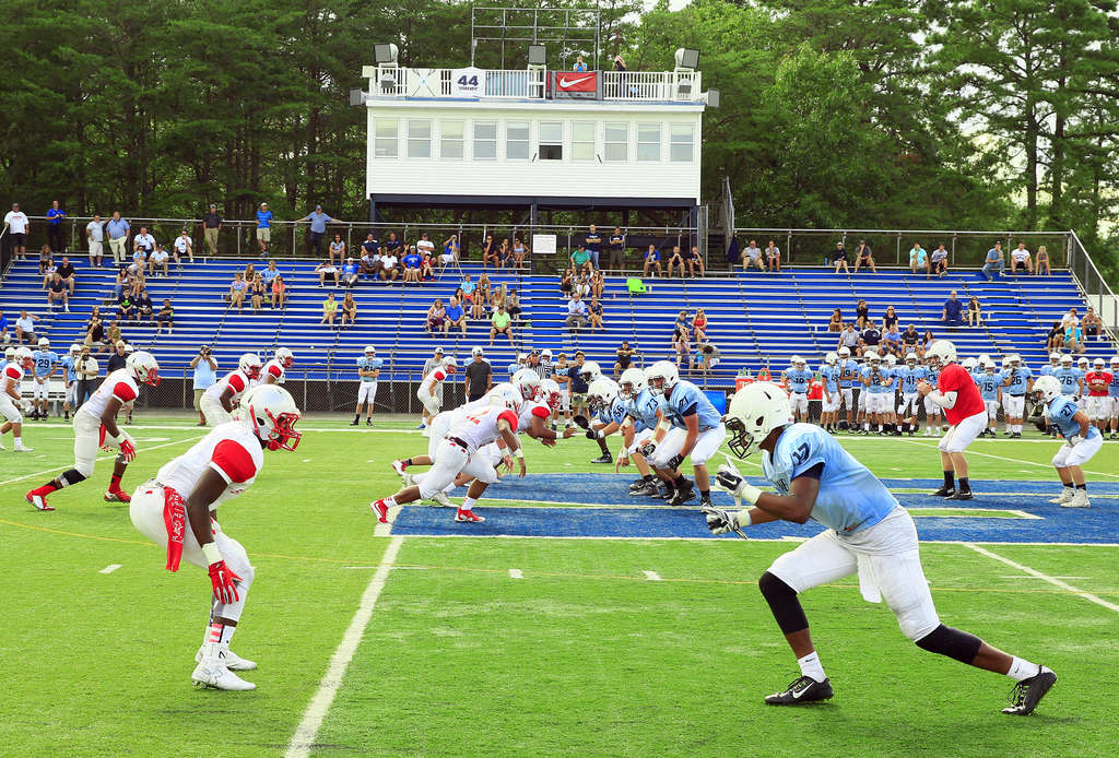 St. Joseph and Shawnee take part in a scrimmage. The teams could meet in an actual game in 2016 when the West Jersey Football League and the Cape-Atlantic League merger takes effect.
