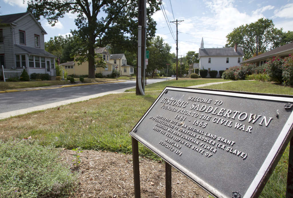 The marker on Rhoads Avenue in Saddlertown, the historically black section of Haddon Township.