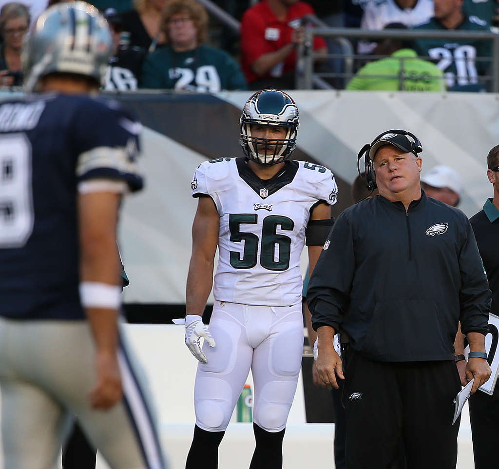 DAVID MAIALETTI / STAFF PHOTOGRAPHER Chip Kelly looks helpless as the Eagles were called for a penalty in the second quarter.