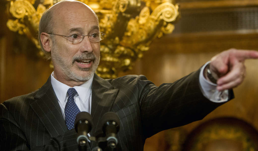 MARK PYNES / ASSOCIATED PRESS Gov. Tom Wolf threatens to veto any stop-gap spending measures.