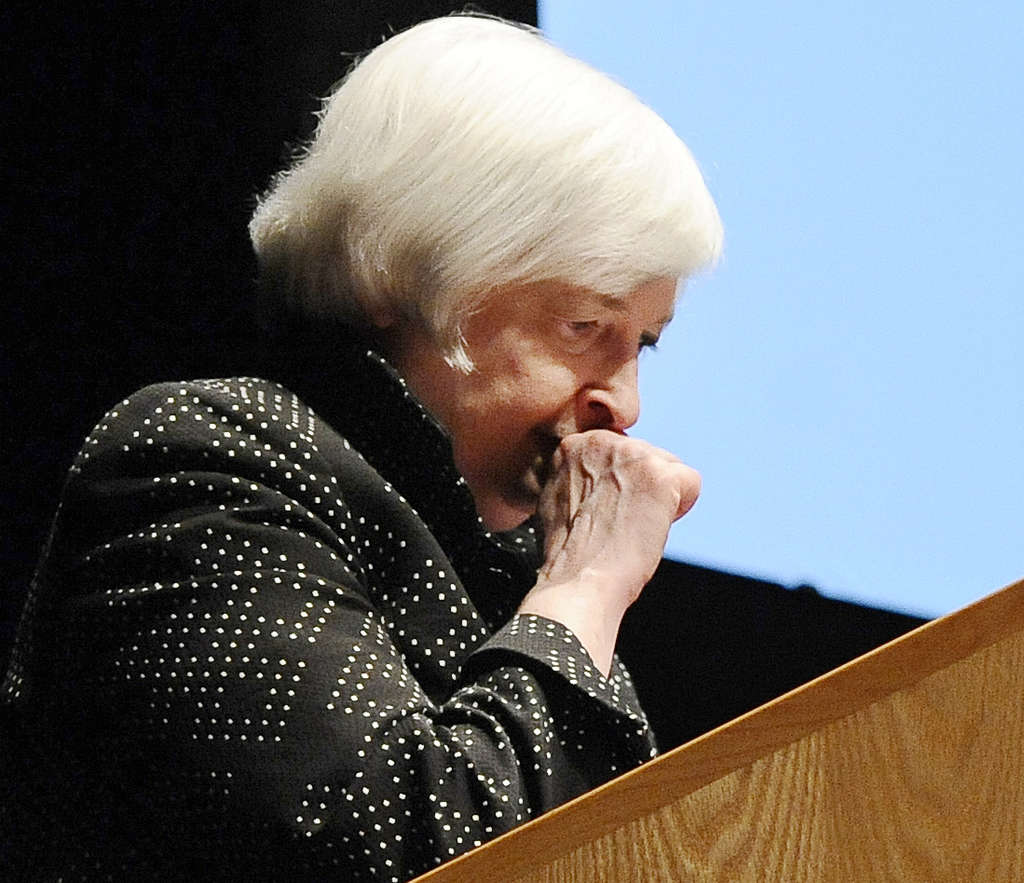 Federal Reserve Board Chair Janet Yellen took ill  Thursday and had to  be helped from the stage. An aide blamed  dehydration.