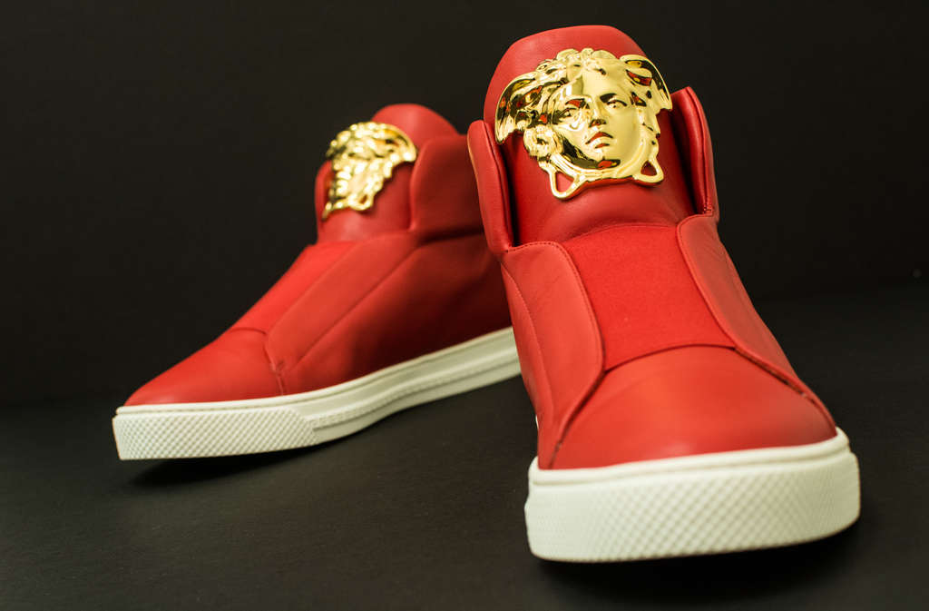Versace´s Medusa-head high-tops may not turn those who look at them to stone, but they will turn heads.