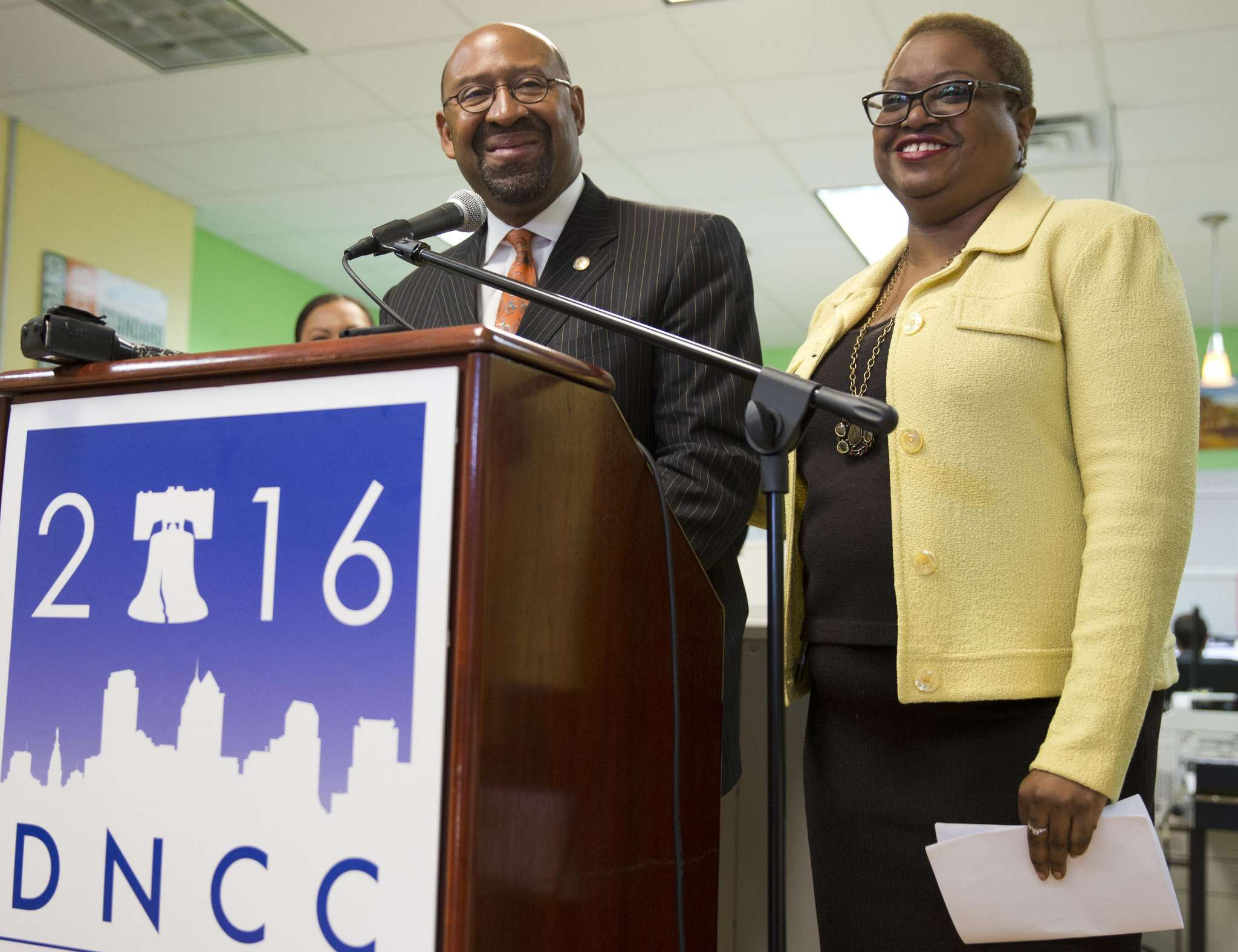 MATT ROURKE / ASSOCIATED PRESS Mayor Nutter holds a news conference with Leah Daughtry, CEO of the Democratic National Convention Committee.