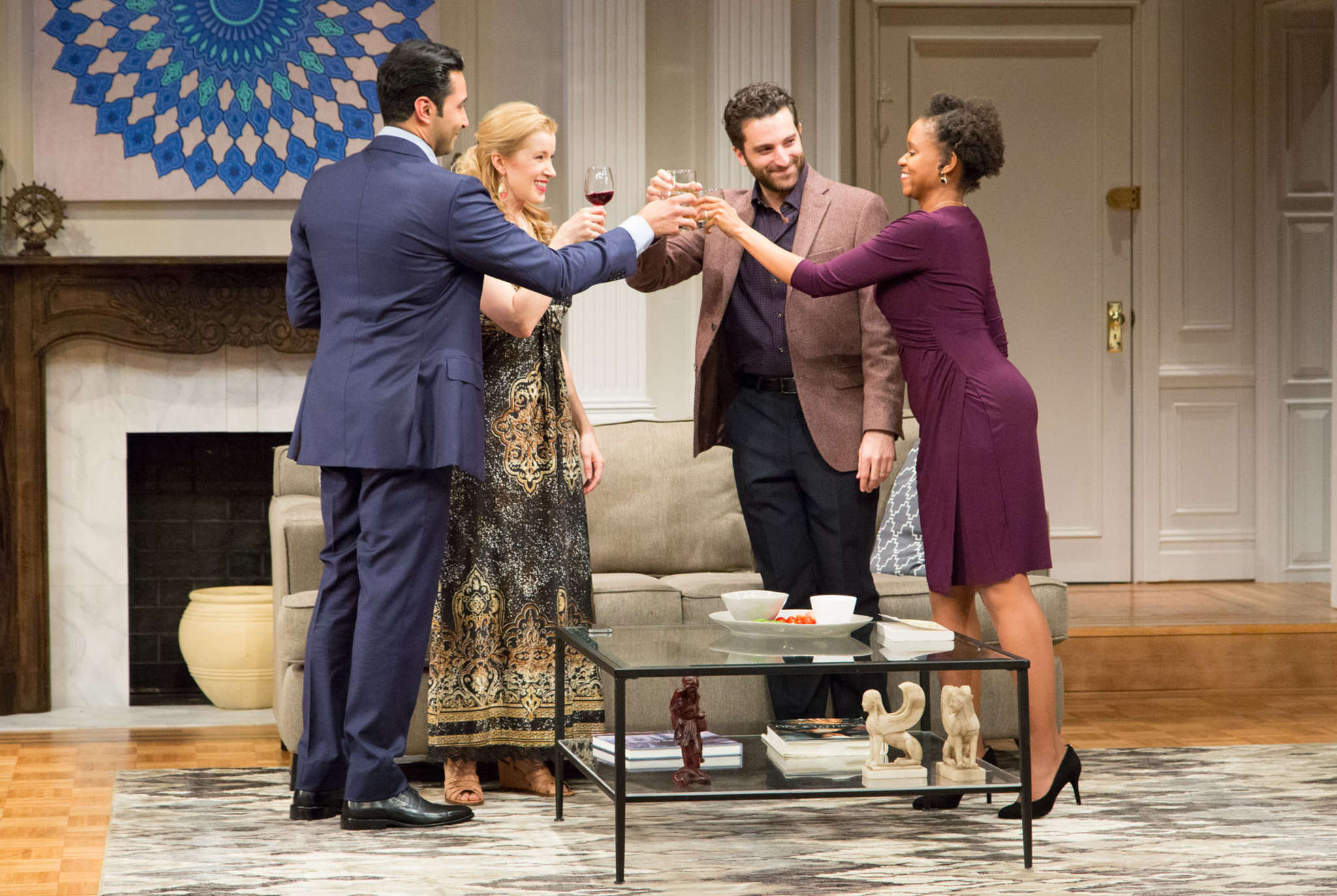 "The two couples in ""Disgraced"" who start off as civil and end in a non-civil war are played by (from left) Pej Vahdat, Monette Magrath, Ben Graney and Aime Donna Kelly."