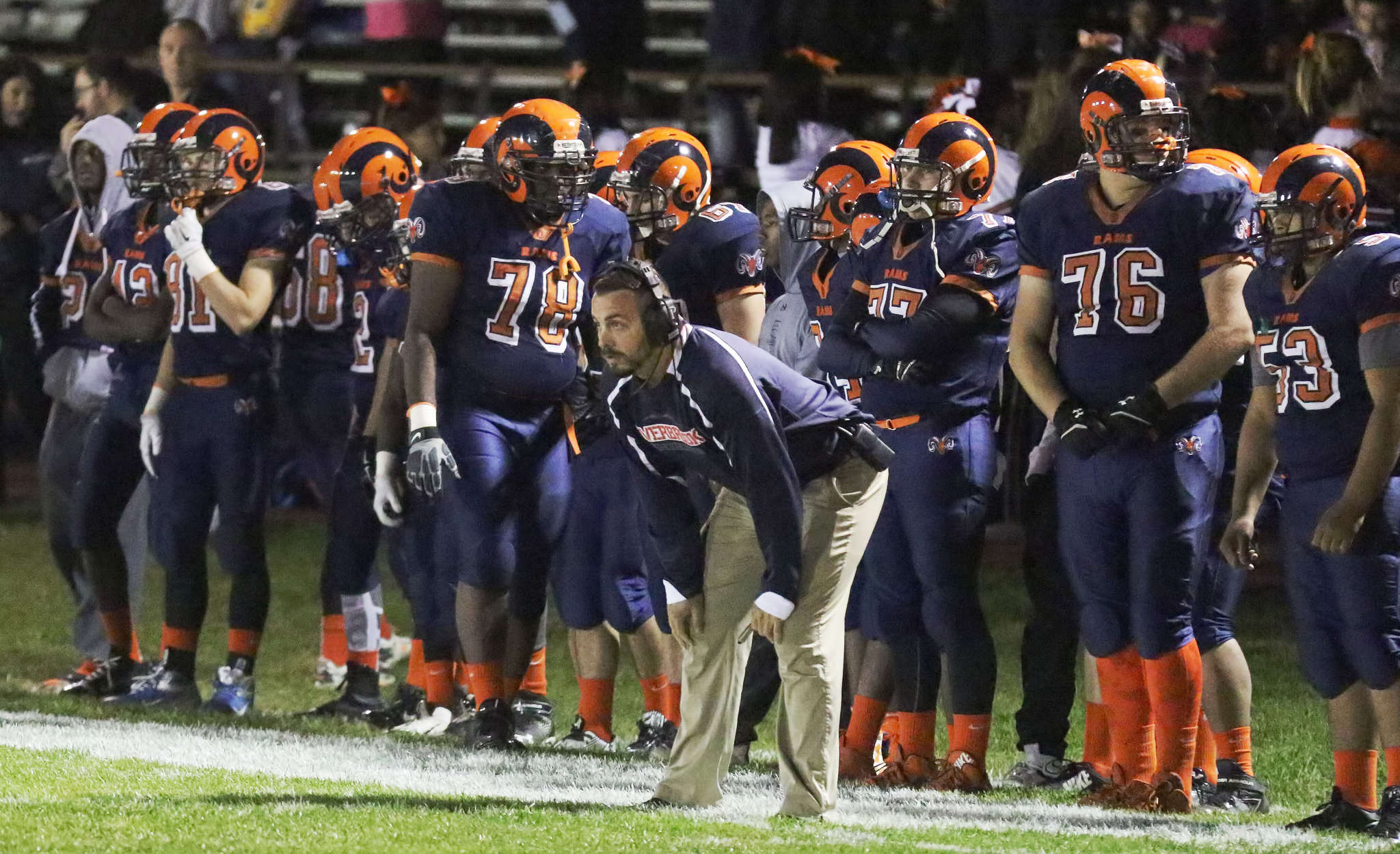 Overbrook head coach Frank Wilczynski watches his team´s 21-12 win over visiting Haddon Heights on Friday. A Colonial Conference-WJFL merger would preserve old rivalries and also provide some exciting new crossover matchups. AKIRA SUWA / For The Inquirer