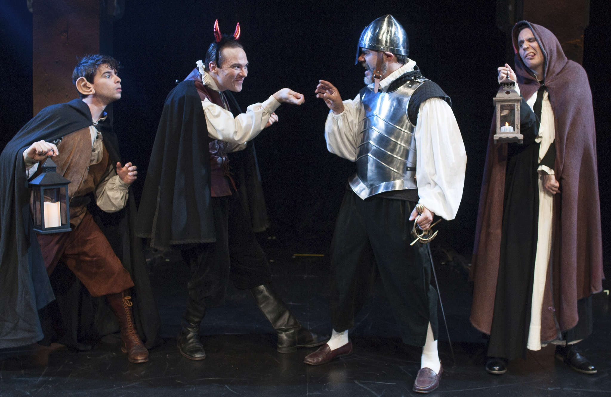 """Quintessence players: (from left) Connor Hammond, Josh Carpenter, Gregory Isaac, and Sean Close in """"The Mandrake."""""""
