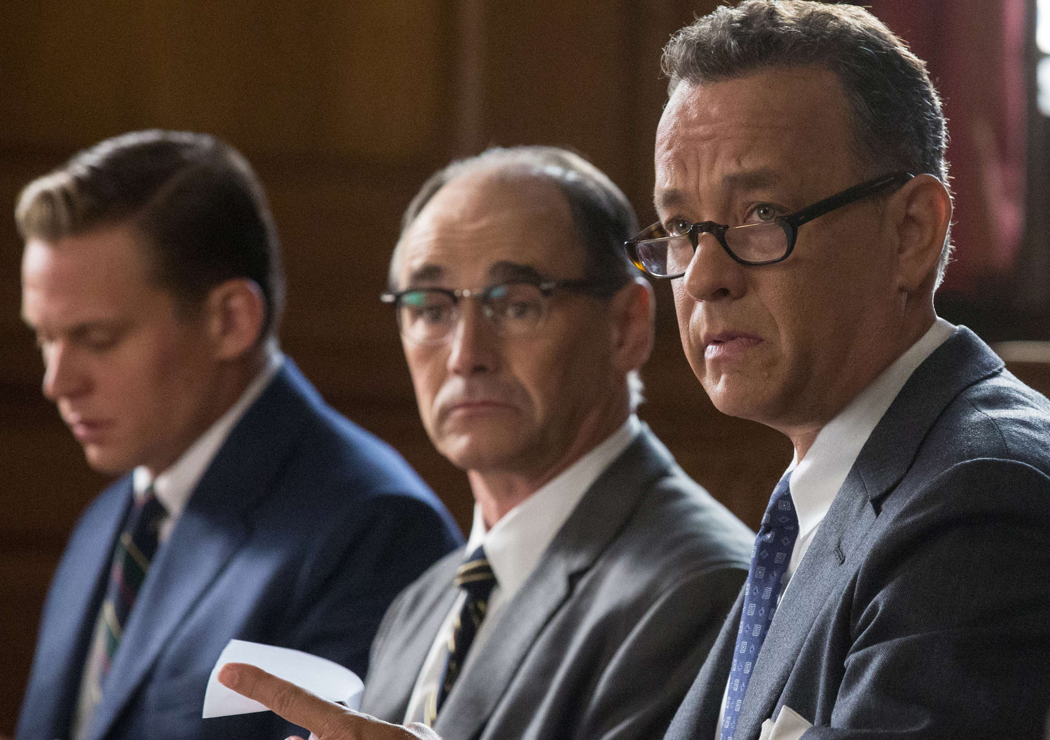 """Bridge of Spies,"" with (from left) Billy Magnusson, Mark Rylance, and Tom Hanks."