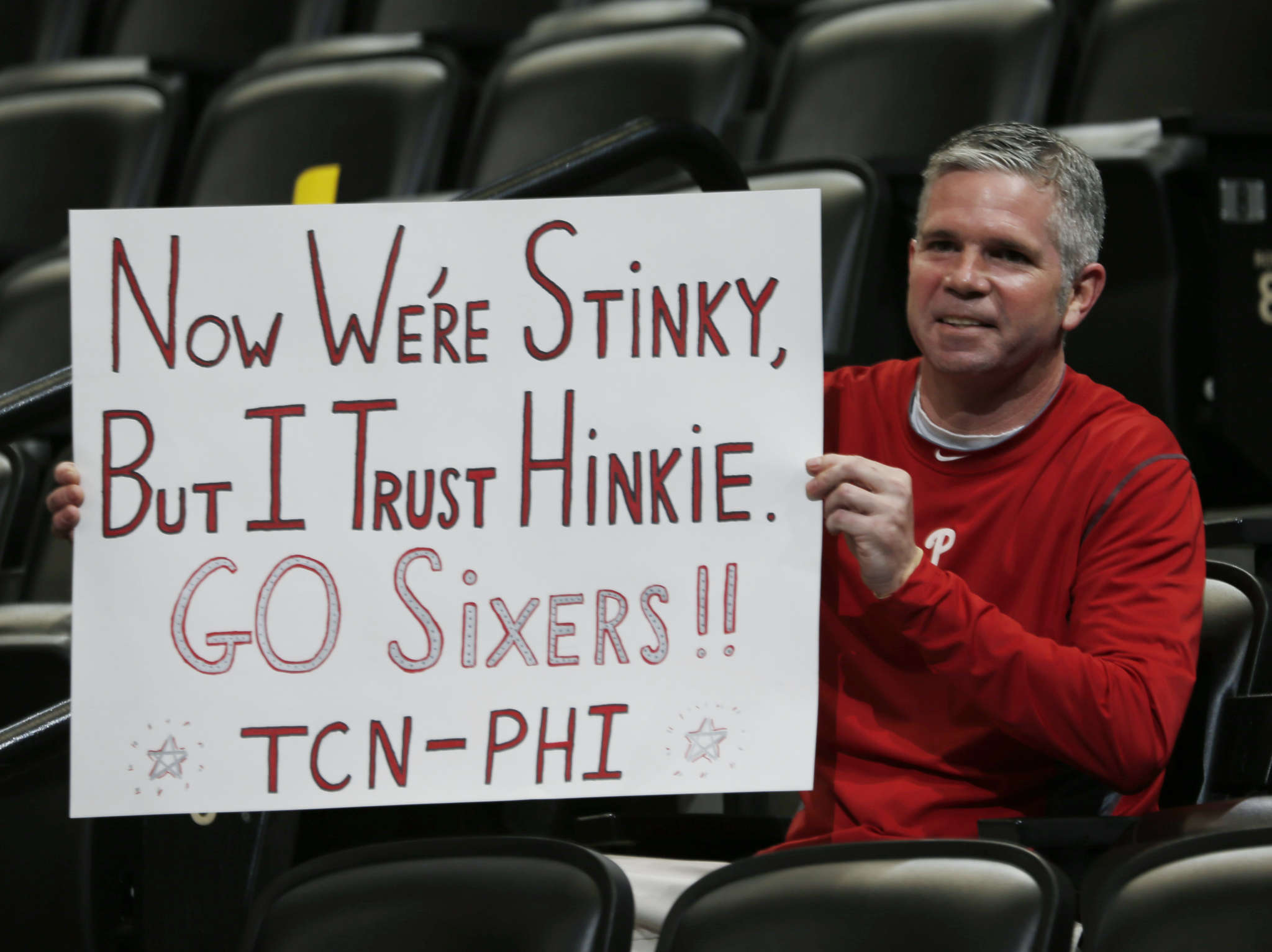 Sixers fan Andy Atkinson , a Bucks County native who now lives in Denver, expressed his feelings at the Pepsi Center last season. Indeed, this team could very well be Sam Hinkie´s worst as general manager. AP
