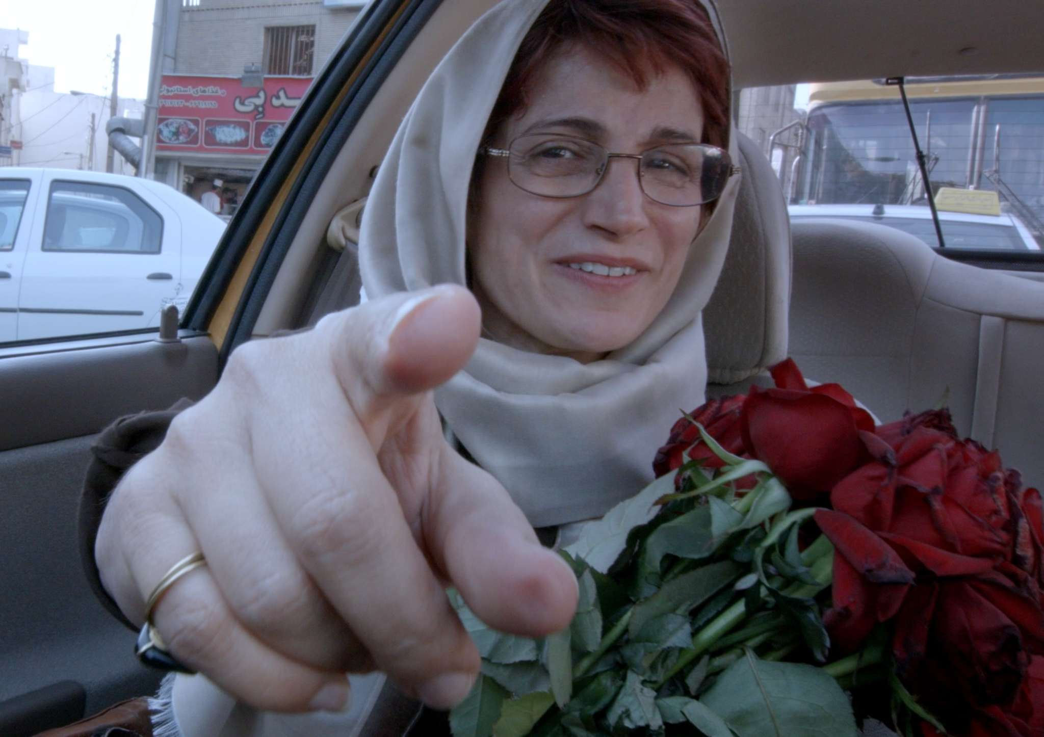 "A passenger points at the camera in ""Jafar Panahi´s Taxi,"" the Iranian director´s latest forbidden film."