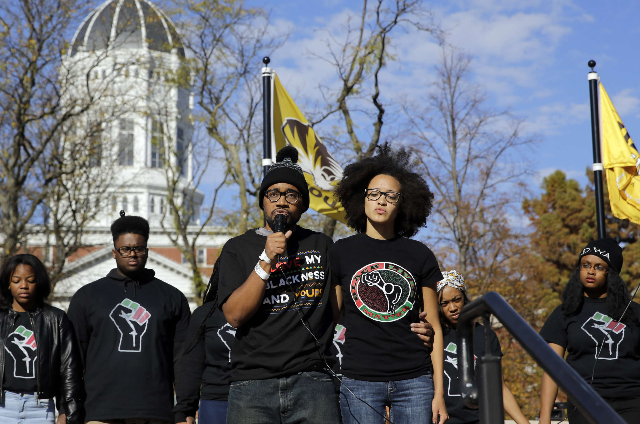 JEFF ROBERSON / ASSOCIATED PRESS Jonathan Butler speaks after ending his hunger strike at Mizzou.