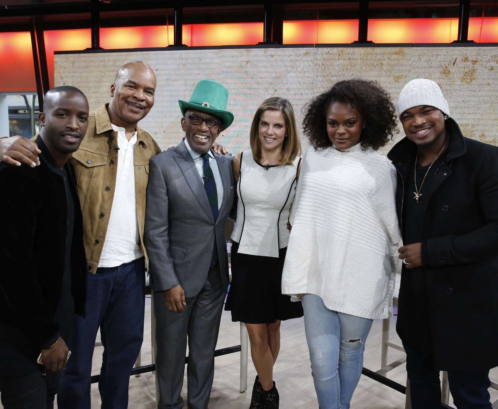 "Anchor Natalie Morales (fourth from left) stands stylishly in Hian´s three-piece Violetta ensemble next to (from left) Elijah Kelley, David Alan Grier, Al Roker, Shanice Williams, and Ne-Yo on the ""Today"" show on Nov. 3."