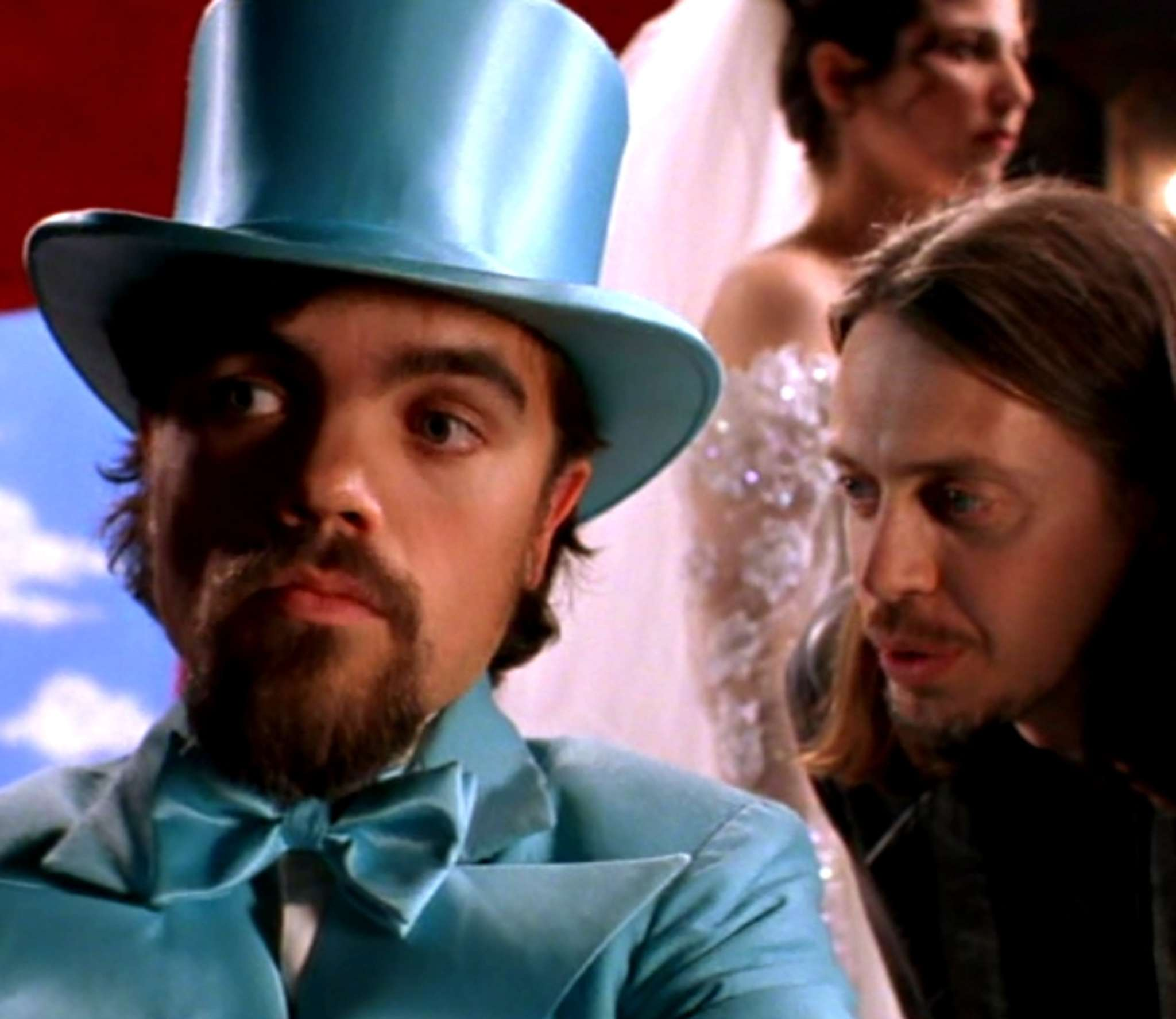 "PeterDinklage (left) and Steve Buscemi in ""Living in Oblivion."""