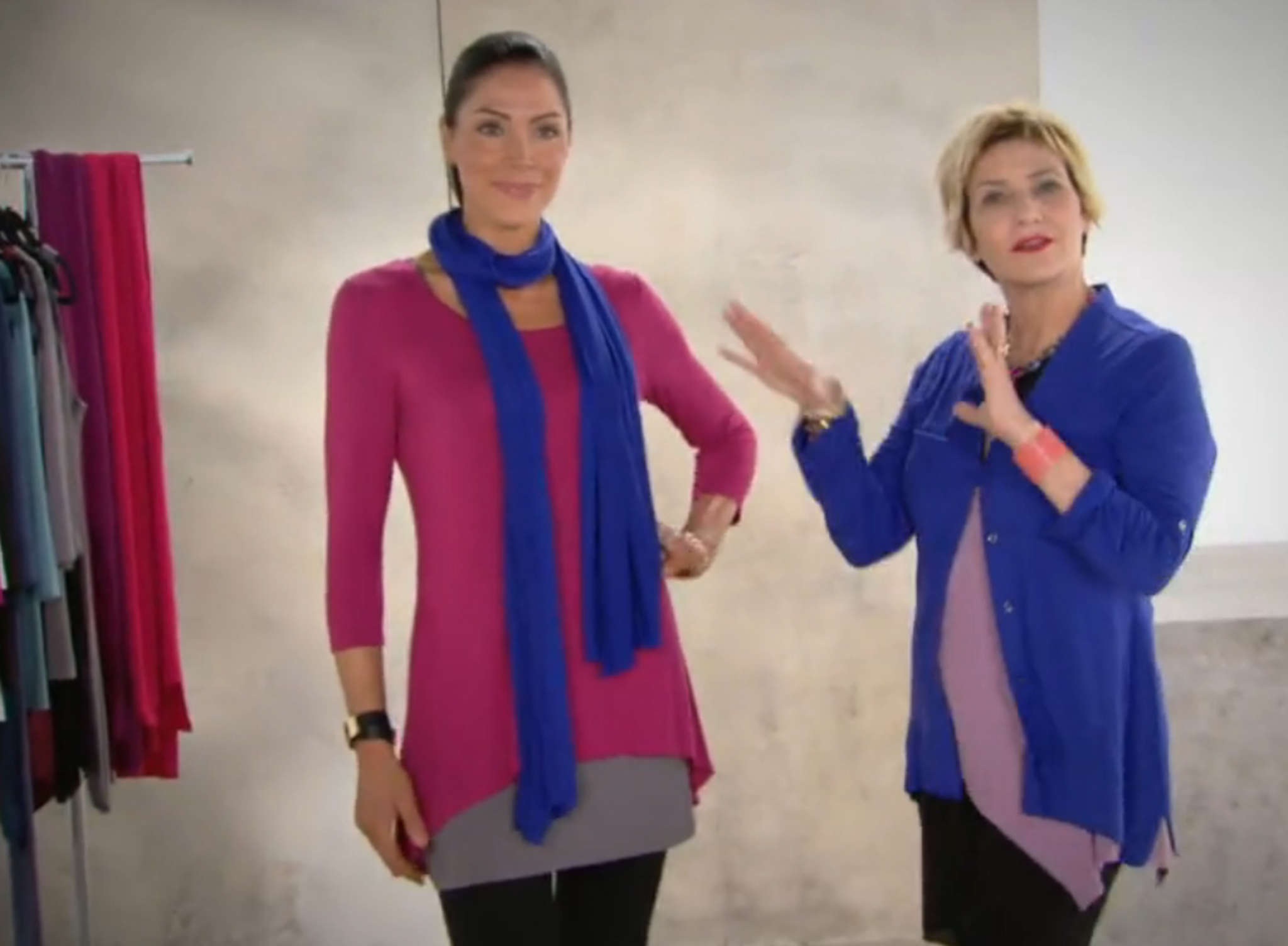 Lori Goldstein (right) discusses layering in a QVC video for her LOGO by Lori Goldstein collection. The stylist will give tips at the conference Thursday.