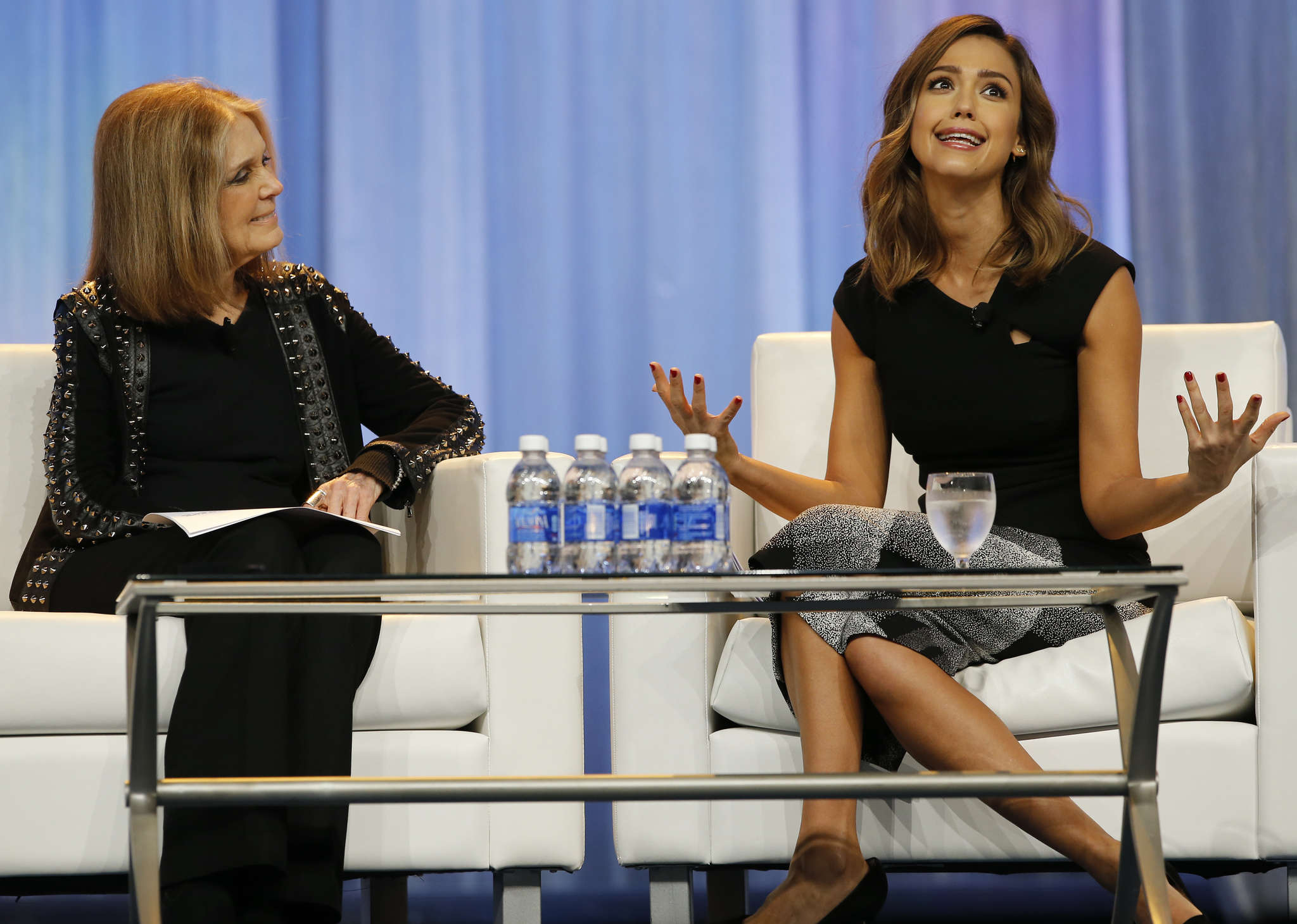 Gloria Steinem (left) speaks with actress and entrepreneur Jessica Alba at the 12th annual Pennsylvania Women´s Conference.