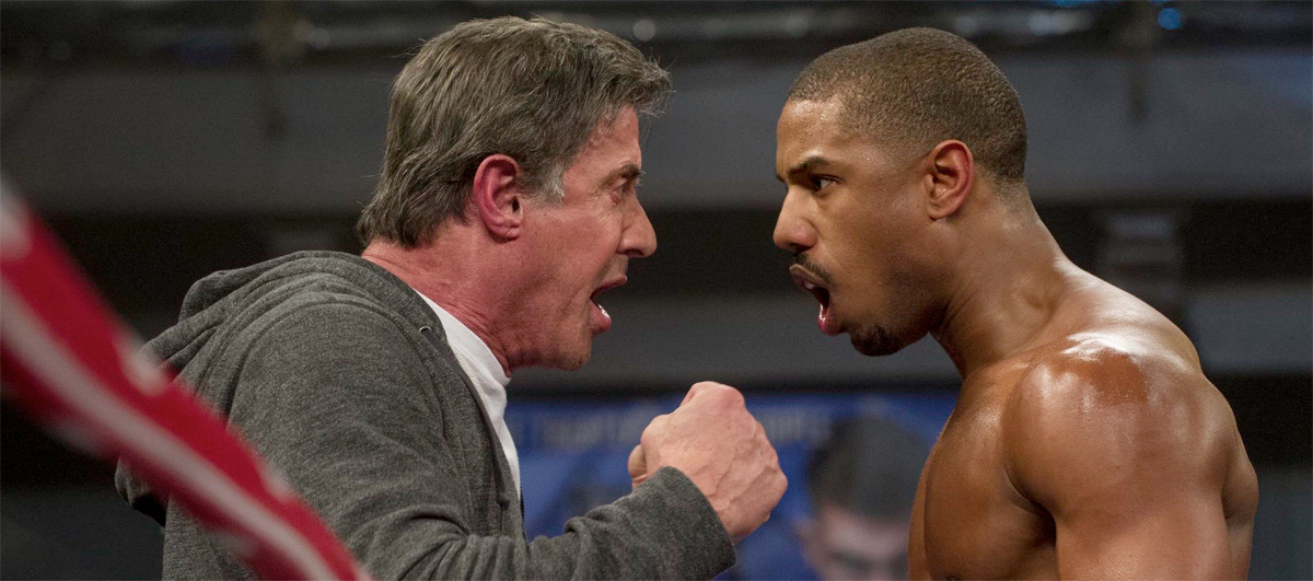 "Sylvester Stallone as Rocky Balboa and Michael B. Jordan as Adonis Johnson in the new Rocky movie ""Creed."""