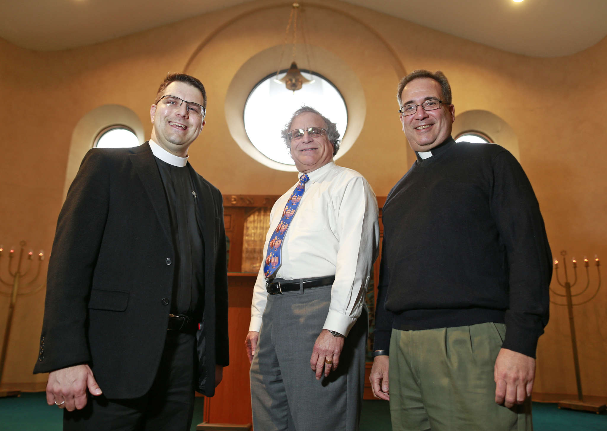 Joining in faiths (from left): The Rev. Brett Ballenger, Rabbi Gary Gans, and the Rev. Rich LaVergetta.