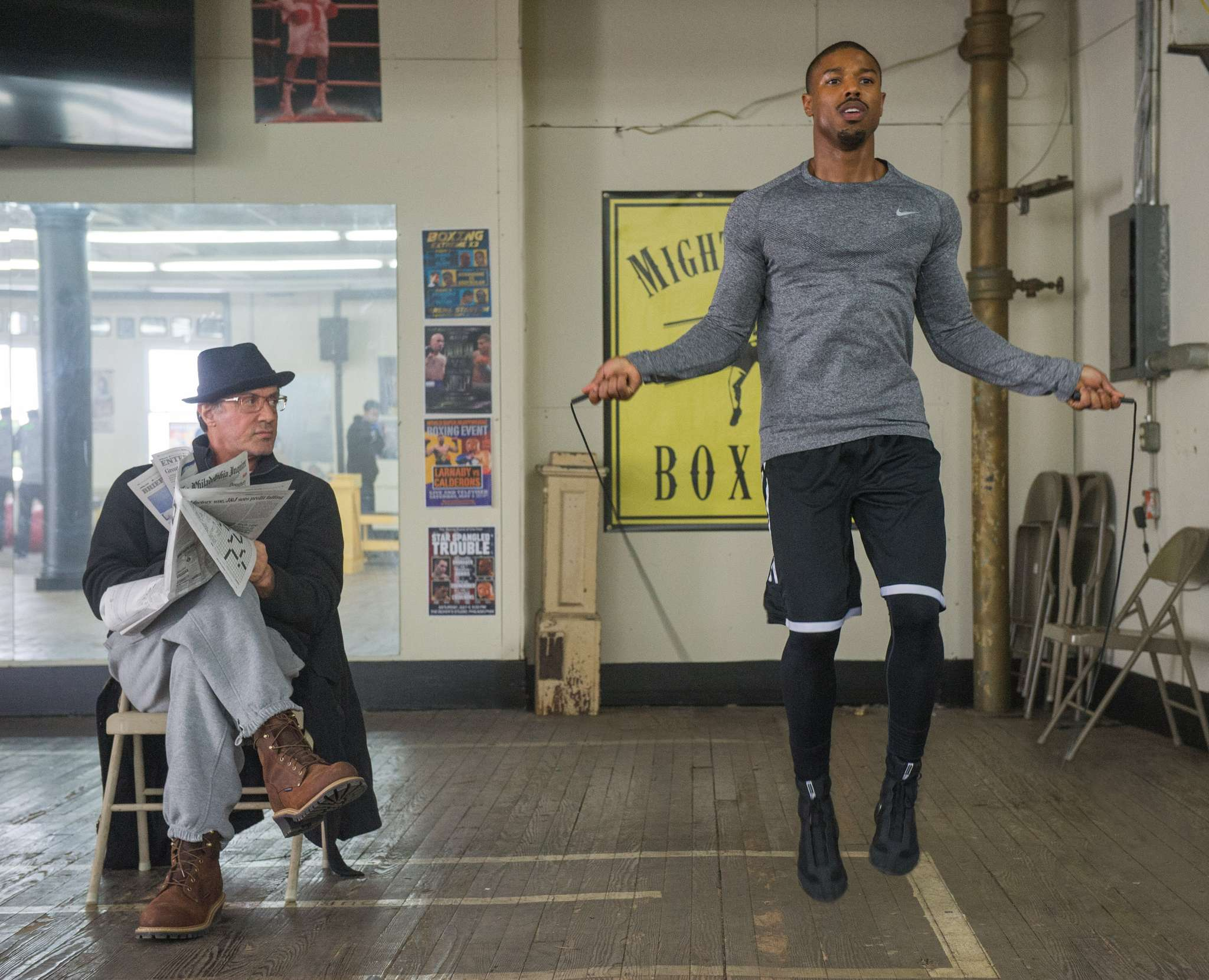 "You need a manager: Sylvester Stallone (left) as Rocky Balboa and Michael B. Jordan as Adonis Johnson in ""Creed."""