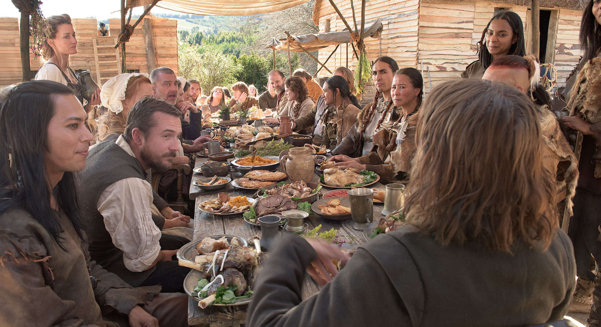 "The first Thanksgiving´s story is told in National Geographic Channel´s two-night movie event, ""Saints and Strangers,"" ending tonight."