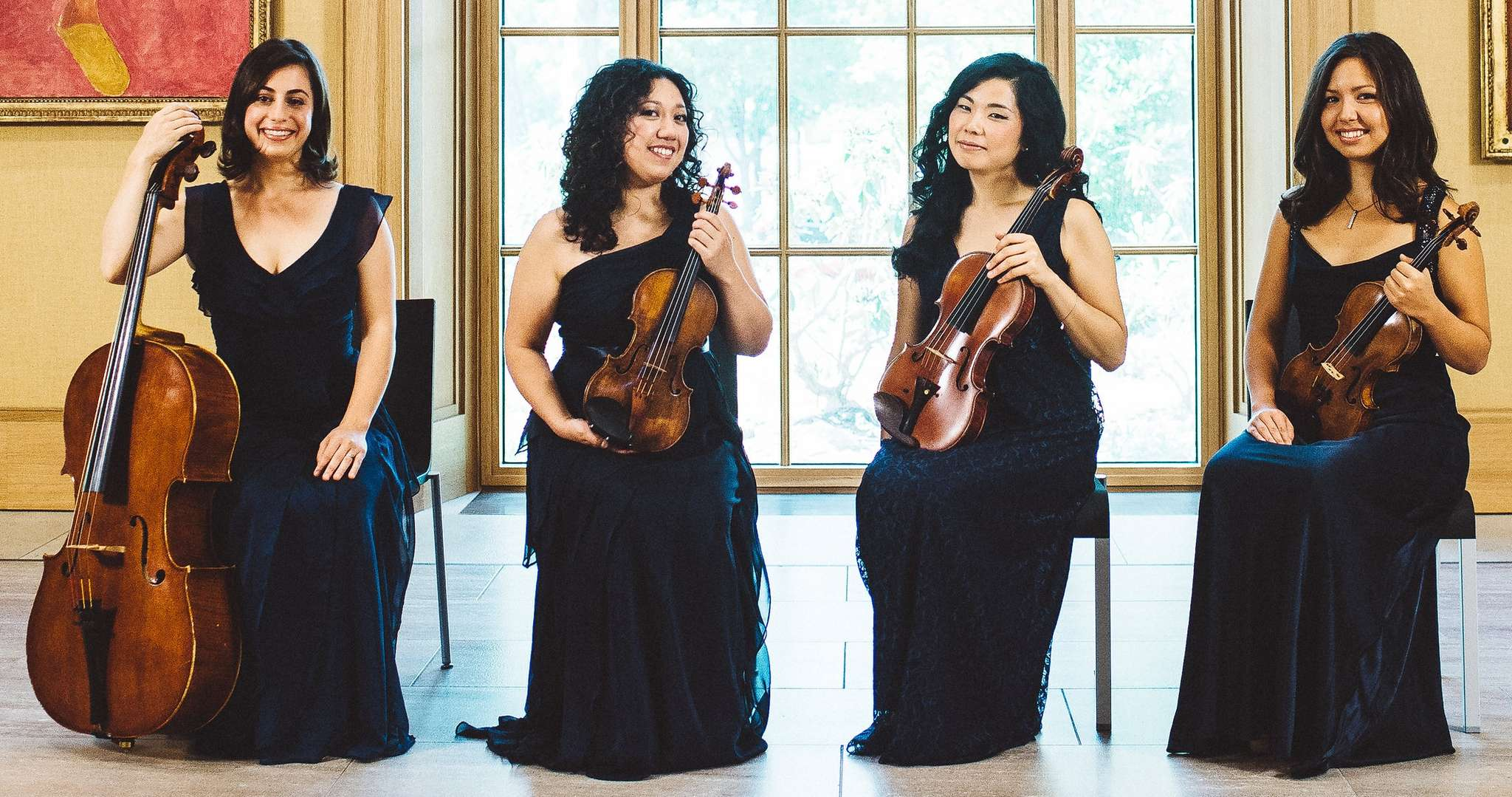 The Aizuri Quartet - (from left) Karen Ouzounian, Miho Saegusa, Ayane Kozasa, and Zoa Martin-Doike - played at Curtis.