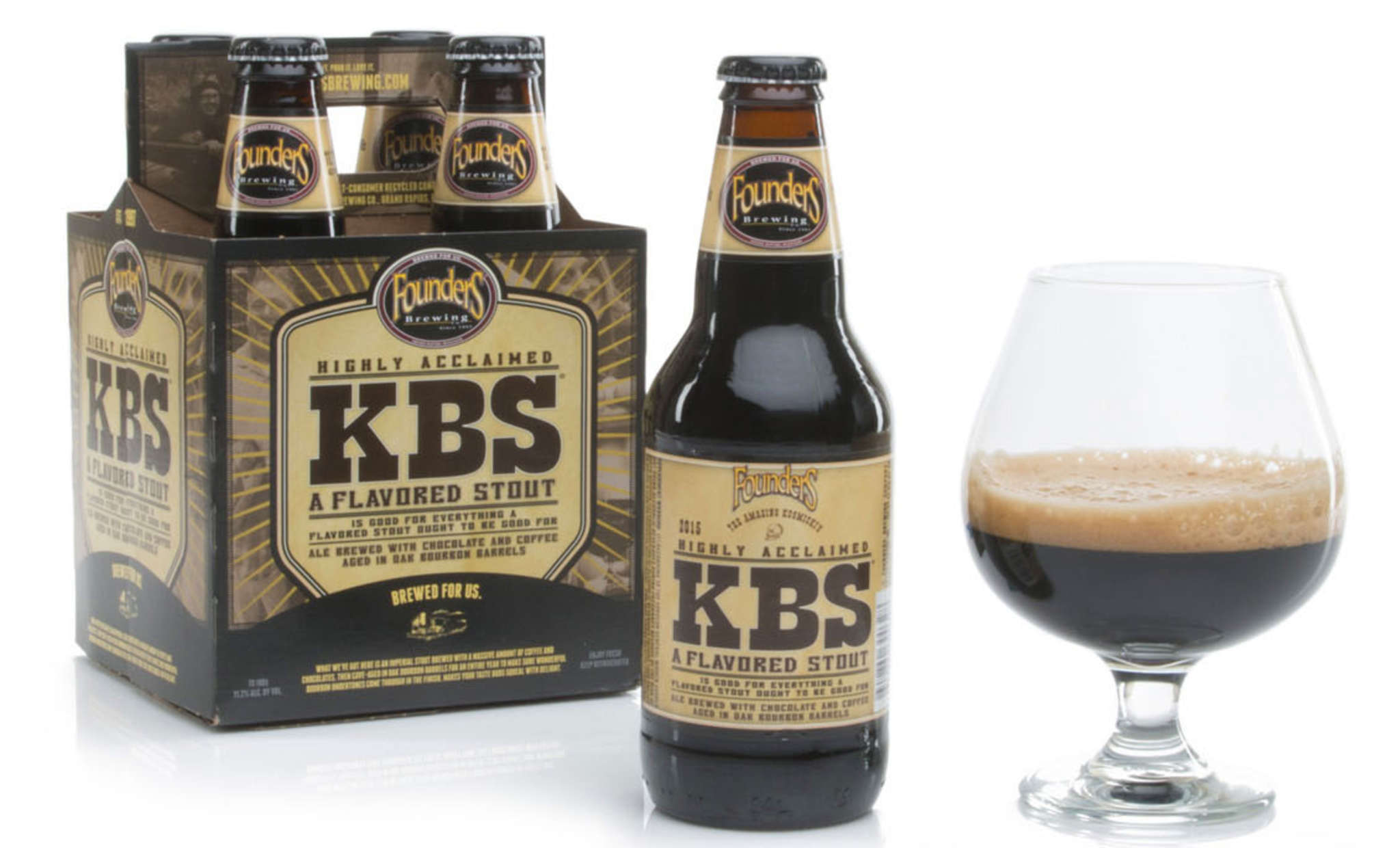 What´s for breakfast? Founders KBS (above) if you´re up for 11.2 percent ABV. Goose Island Bourbon County (farleft) keeps it real, and Victory Java Cask keeps it local.